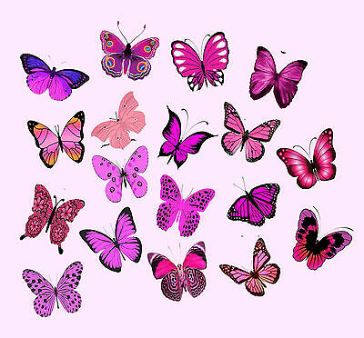 54 X The Best Pink Mixed Butterflies Wedding Birthday Edible Cupcake Toppers C21