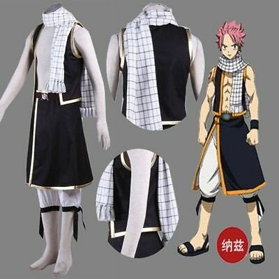 Fairy Tail Natsu Dragneel Neckerchief Costume Outfit Cosplay Scarf Boa Bandana