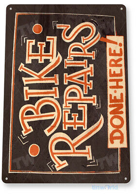"""TIN SIGN """"Bike Repairs"""" Trail Wall Art Decor Garage Shop Bicycle Store Cave A822"""