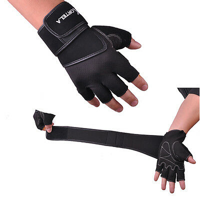 Training Workout Fitness Sports Fingerless Gloves Weight Lifting Wrist Wrap