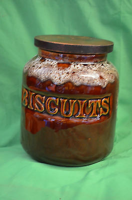 Fosters Cornish Brown Honeycombe Biscuits Barrel Storage Jar with Airtight Lid