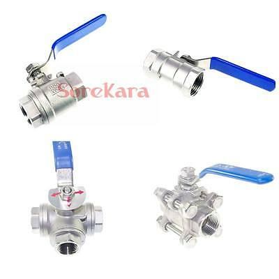 "1/4"" 3/8"" 1/2"" 3/4"" 1"" 2"" BSP 304 Stainless Steel Ball Valve Oil Water air"