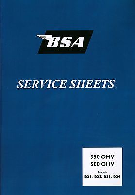 BSA B31 B32 B33 B34 Service Sheets Set Swinging Arm Magdyno Carburettor Forks