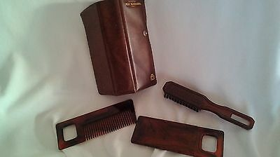 Vintage mens travel vanity set mirror brush comb case PORT MACQUARIE SOUVENIR