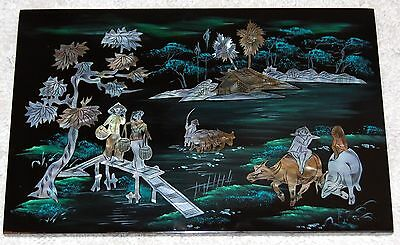 NEW Hand Crafted Lacquer Art Mother Of Pearl Inlaid Picture Lacquerware