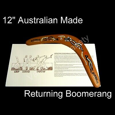 "12"" Australian Made Returning Boomerang Crocodile Kangaroo Aboriginal Dot Design"
