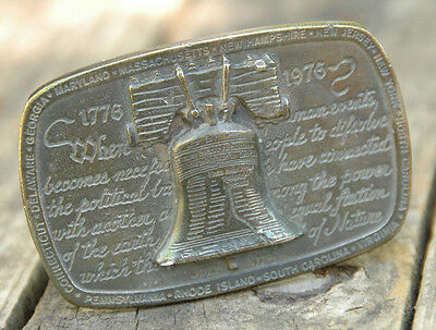 Liberty Bell Brass Belt Buckle-1975 Wyoming Studio Art Works-USA-James Lind