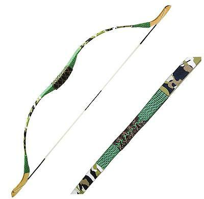 """IRQ Archery Traditional Recurve Bow Youth Kids Children 15lbs Wooden 42"""" Target"""
