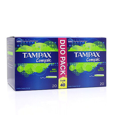 New Tampax Compak Duo Applicator Tampon Super 2x20