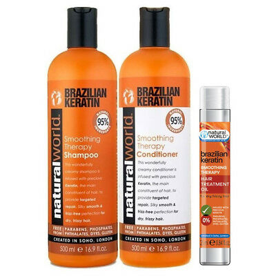 Natural World Brazilian Keratin Shampoo,Conditioner 500ml +  FREE HAIR OIL 25ml