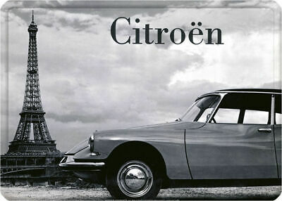 French Chic Classic Vintage Style Citroen Eiffel Tower Shabby Metal Sign Plaque
