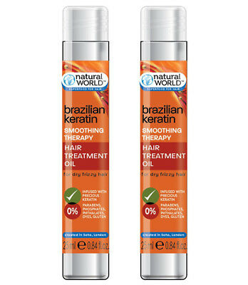 Natural World Brazilian Keratin Smoothing Therapy Hair Treatment Oil 50ml