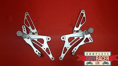 (B) Cafe Racer Rear Sets In Silver Alloy -New - Free P/P