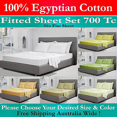 New Single Double Queen / King Size 100% Egyptian Cotton 700Tc Fitted Sheet Set