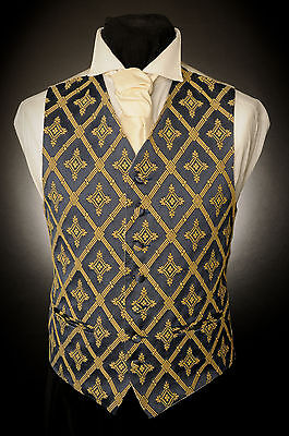 W - 494. Mens Blue/gold Ornate Diamond Special Occasion Waistcoat