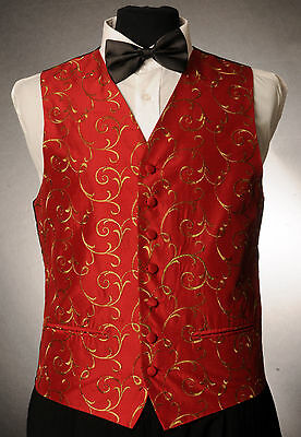 W - 1030.mens/boys Red Silk Finish Waistcoat / Dress/ Suit / Party / Formal