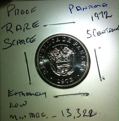 1972 Panama   Proof 5 Centisimos Very Low Mintage Near Perfect  Extremely Rare