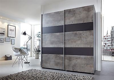 German Chess Concrete Grey & Black 2 Door 135cm Sliding Slider Door Wardrobe