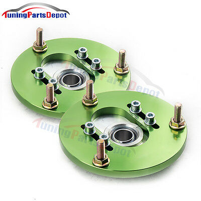 Front Coilover Camber Plate Top Mount For BMW E46 320 323 325 328 M3 Pair Green