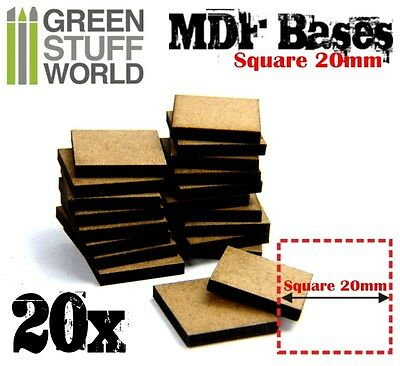 20x MDF Bases - Square 20mm - Thickness 3mm Basing Laser Cut Wargames infantery