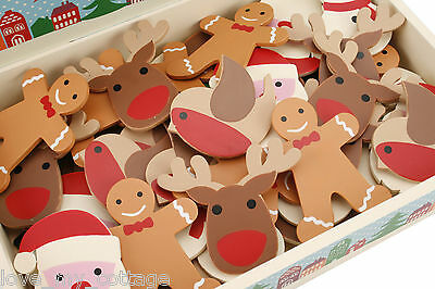 Christmas Wooden Brooch Pin Badge Party Costume Decoration Rudolf Gingerbread