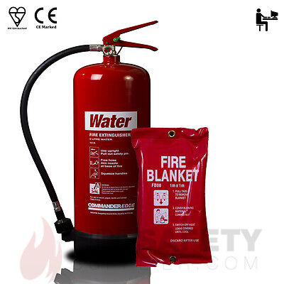 9 Litre Water Fire Extinguisher + 1m x 1m Fire Blanket