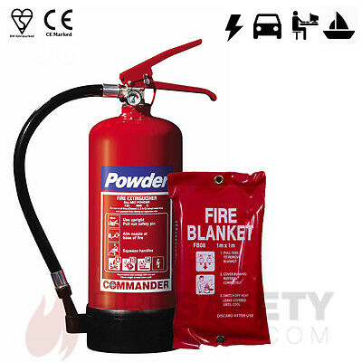 3kg Dry Powder Fire Extinguisher + 1m x 1m Fire Blanket