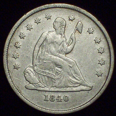 1840 O Seated Liberty QUARTER Dollar SILVER Nice XF Detailing RARE Authentic 25C