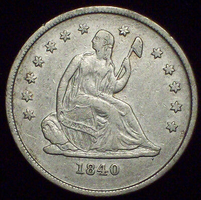 1840 O Seated Liberty QUARTER Dollar SILVER - Nice XF Detailing *RARE* Authentic