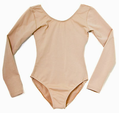 Childrens Long Sleeve Dance Leotard All Sizes Cotton Nude Tan Skintone Beige
