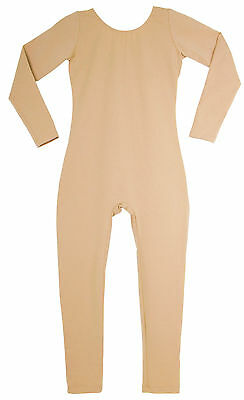 Long Sleeve Cotton Unitard Childs Nude Beige Skintone Tan NEW Bodysuit