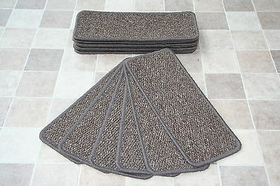 14 Open Plan Carpet Stair Treads Plain Brown Regatta Mocha Pads! 14 Large Pads!