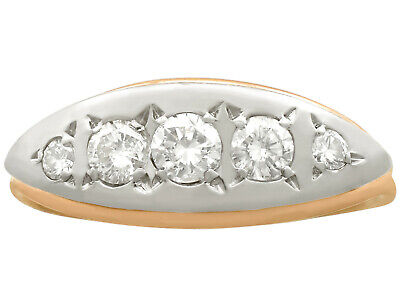 Vintage, 0.82Ct Diamond and 14k Rose Gold Dress Ring - Russian