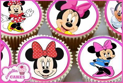 24 X  Minnie Mouse Cupcake Toppers Cake Wafer Rice Paper 0241