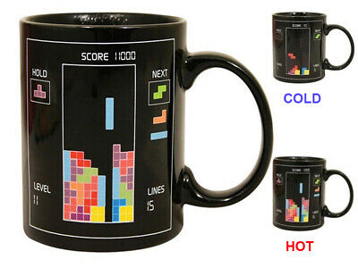 Black Retro Tetris Heat Changing Change Mug Hot Coffee Tea Cup Novelty Gift 80'S