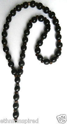 "Ethnic Inspired: Tribal Mens 14Mm Black Wood Beads 3"" Pendant Long 27"" Necklace"