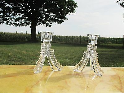 Vintage cut Glass Couple Pair Candle Holders Modern Style Tripod Lovely