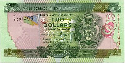 SOLOMON ISLANDS 2013 ND 2 DOLLAR BANK NOTE in a Protective Sleeve
