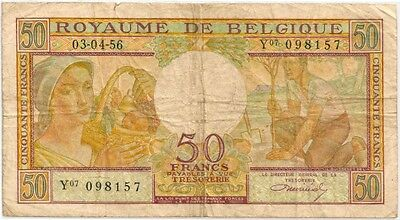 BELGIUM 1956 50 FRANCS BANK NOTE in a Protective Sleeve