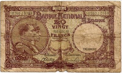 BELGIUM 1944 20 FRANCS BANK NOTE in a Protective Sleeve