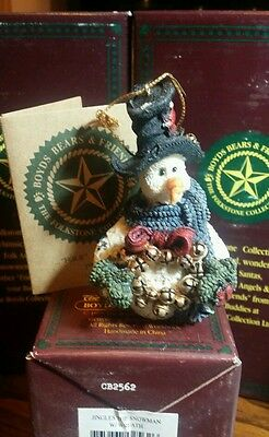 Boyds Bears Retired Folkstone, Jingles The Snowman with Wreath 02562