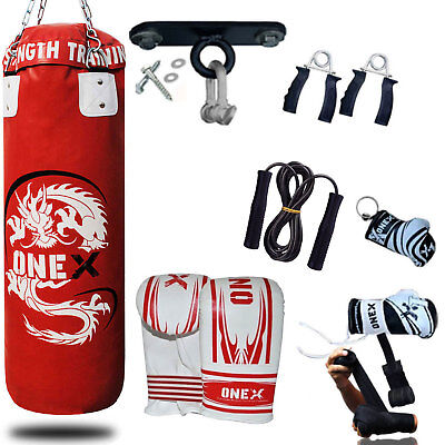 NEW 3Ft 15Piece Boxing Set Filled Heavy Punch Bag Gloves Bracket Chains MMA Pads