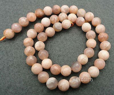 Round Faceted Sunstone Semi-Precious Gemstone Beads, choose size