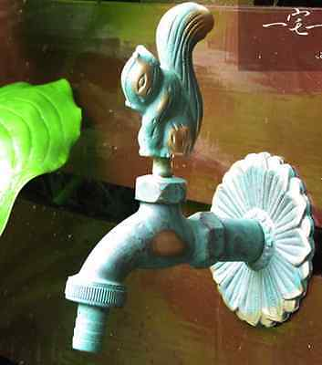"""Squirrel Brass Garden decorate  Water Tap Outdoor Outside Hose Lawn Faucet 1/2"""""""
