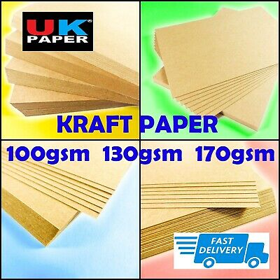 A4 or A5 NATURAL ECO 100% RECYCLED KRAFT BROWN QUALITY 100gsm CARD PAPER CRAFTS