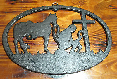 Cast Iron Kneeling Cowboy Plaque Gothic Rustic Old World Style  FREE SHIPPING