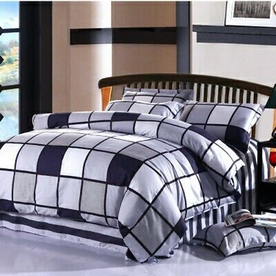 Cotton Striped Quilt Duvet Doona Cover Set Single Double Queen King Size Bed New