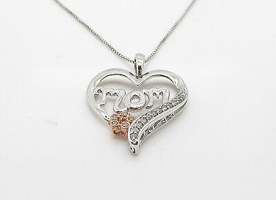 "BEAUTIFUL STERLING ""MOM"" HEART 14k ROSE GOLD DIAMOND ACCENT PENDANT NECKLACE 18"""