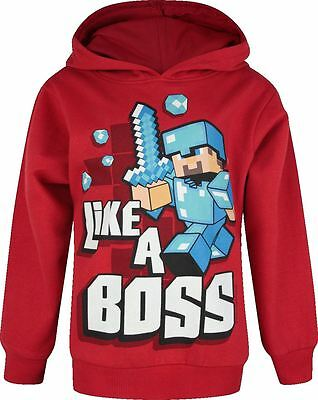 Boys Minecraft Hoodie | Mine Craft Hoody | Official | LIKE A BOSS Age 5-6 | RED