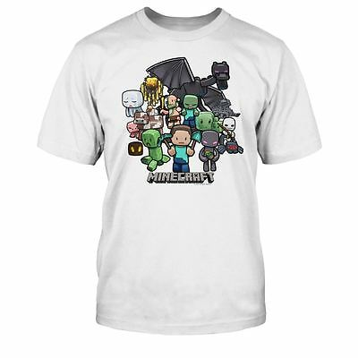 Boys Minecraft T-shirt   Mine Craft Tshirt   Official   PARTY   Youth   WHITE